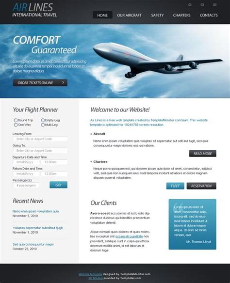 free site free html5 website template for airlines company monsterpost