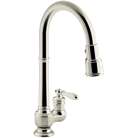 polished nickel kitchen faucets kohler artifacts single handle pull sprayer kitchen faucet in vibrant polished nickel k