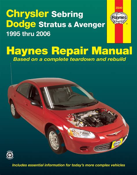 chrysler sebring dodge stratus avenger 95 06 haynes repair manual usa haynes manuals
