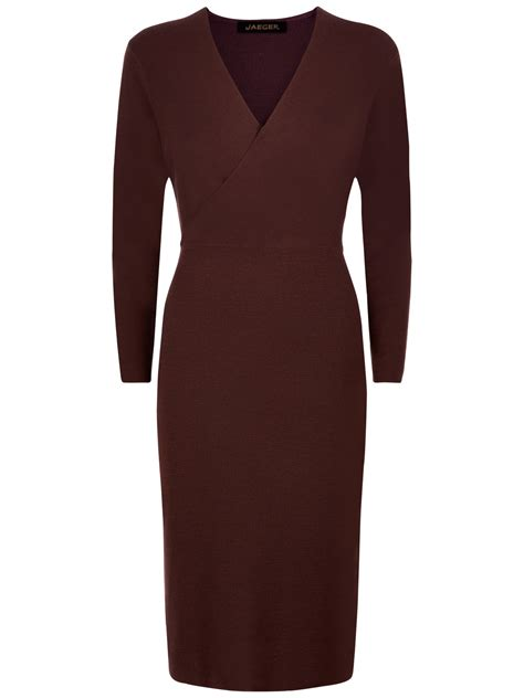 wool knitted dress jaeger wool knit wrap dress in brown lyst