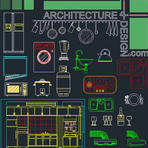 2d design free kitchen furniture blocks and layouts autocad quot dwg quot file