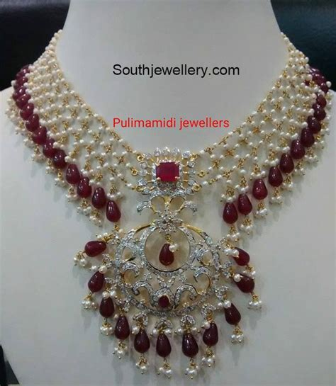 pearl bead necklace pearl ruby necklace jewellery designs