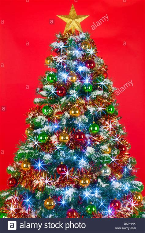 tree decorated a decorated tree with baubles tinsel and