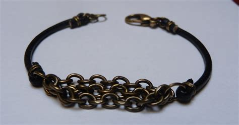 how to make jewelry with leather cord and stuff leather cord and metal chain bracelet