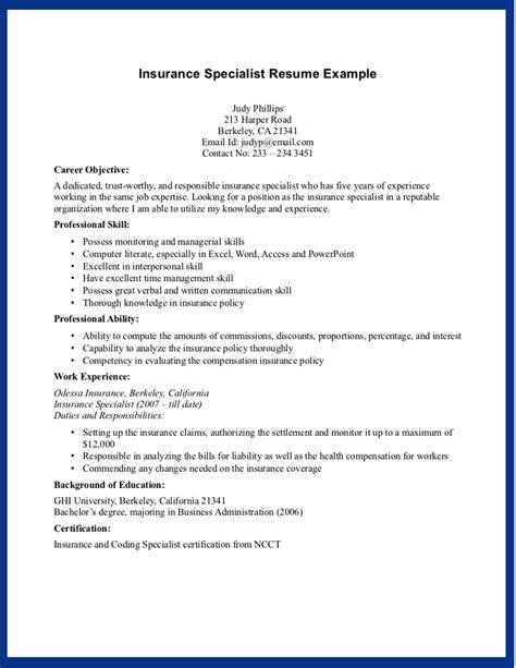 sample insurance specialist skills for resume