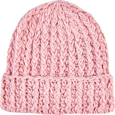 pink knit pink beanie river island light pink chunky knit beanie