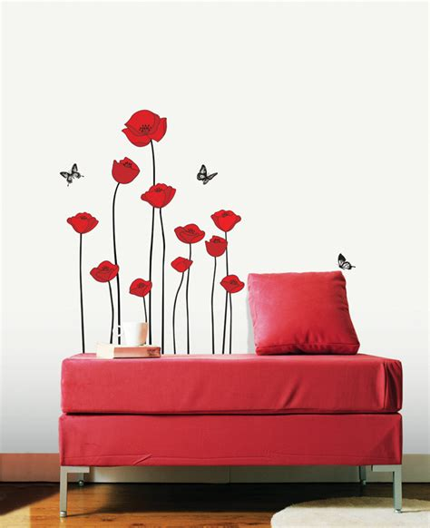 poppy wall sticker poppies flower wall stickers wallstickery