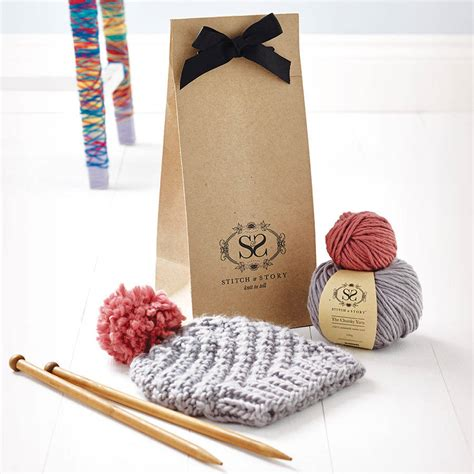 knitted kits knitting kit beginner s pom pom hat gift set by stitch