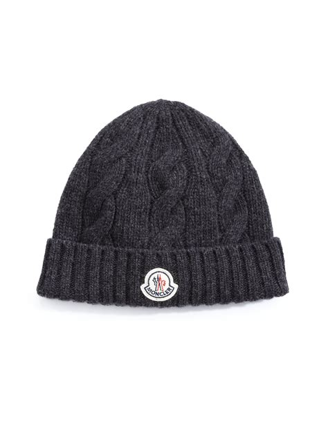 black knit cap moncler cable knit cap in black for lyst