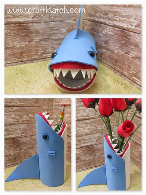 pencil holder craft ideas for craft klatch 174 easy shark back to school pencil holder or