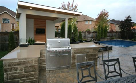 White Kitchen Island With Natural Top oakville cabana bbq island pool contemporary pool