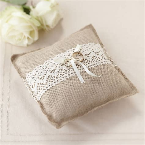 ring cusions vintage rustic wedding hessian ring cushion by