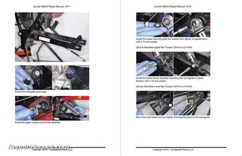 Suzuki Gz250 Manual by Suzuki Gz250 Marauder Cyclepedia Printed Service Manual