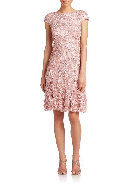 Theia Beaded Petal Dress In Pink Dusty Lyst