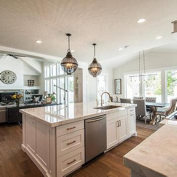 kitchen islands with sinks backless gray tufted counter stools with silver nailhead trim transitional kitchen