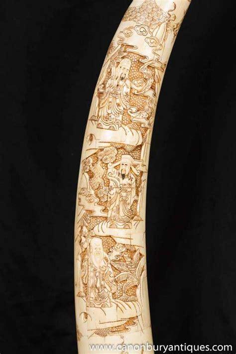 carved bone pair bone carved tusks notivory carved