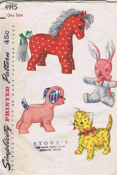 pony patterns animals vintage stuffed toys 1950s sewing pattern 4915 simplicity