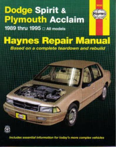 haynes dodge spirit plymouth acclaim 1989 1995 auto repair manual