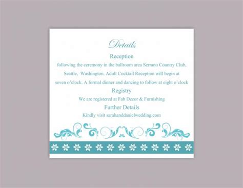 aqua card make a payment diy wedding details card template editable word file