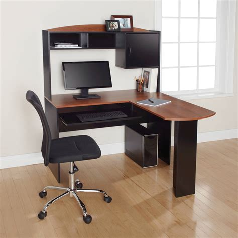 walmart desks black l desk black and oak walmart