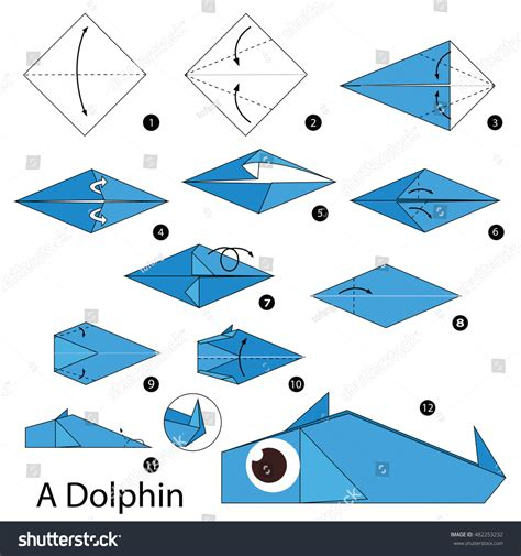 how to make origami dolphin step by step how make stock vector 482253232