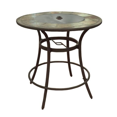 patio table bar height shop allen roth safford 40 in brown aluminum frame