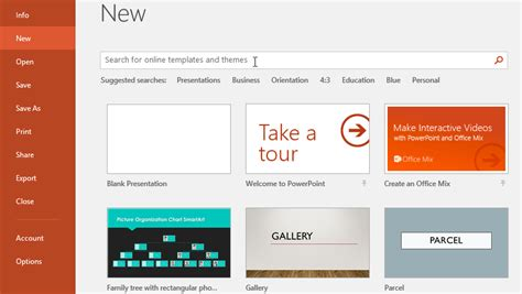 how can you create a new presentation using an esisting
