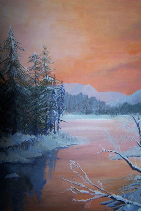 acrylic painting winter winter sunset original acrylic painting by kaycindy on etsy