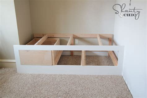 built in bed frame wood plans storage bed woodworking projects