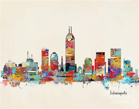 painting indiana indianapolis indiana skyline painting by bri b