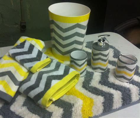 yellow bathroom rug sets chevron neon yellow gray white 8 pc bathroom set bath