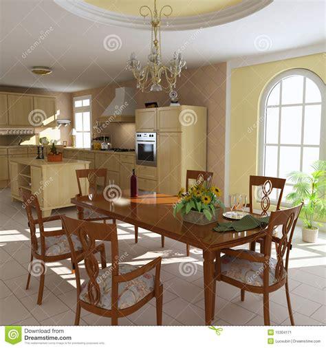 salle 224 manger et cuisine classiques image stock image 15304171