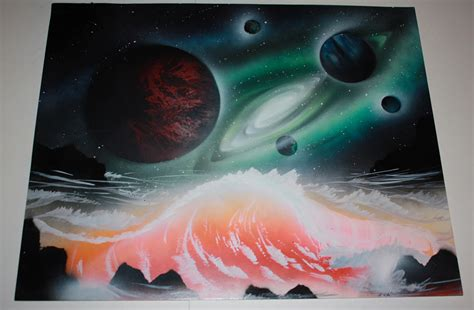 spray paint poster board this artist doesn t use just paint to create his you