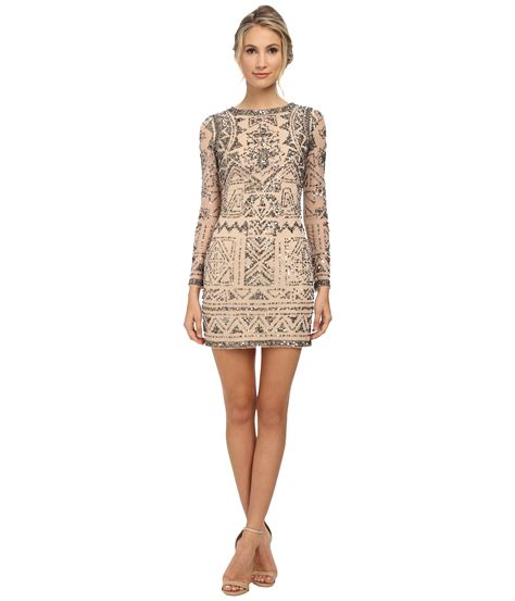beaded sleeve dress papell sleeve beaded cocktail dress in