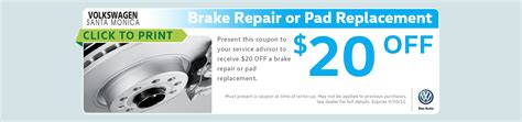 Santa Volkswagen Service by Vw Brake Pad Replacement Service Special Coupon Los