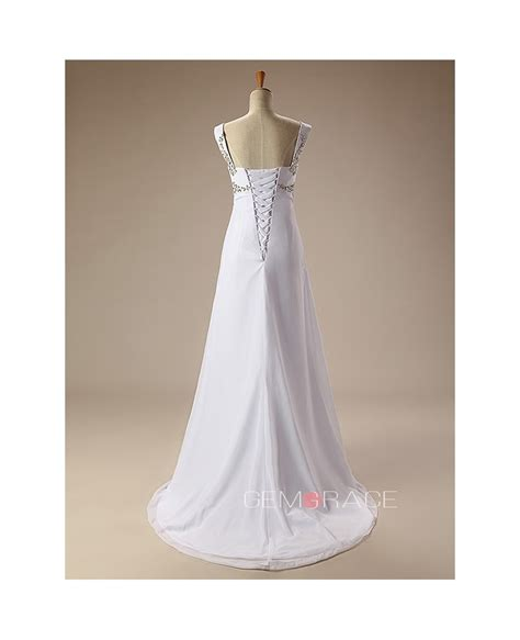 beaded straps for wedding dress simple beaded straps chiffon wedding dress cy0049
