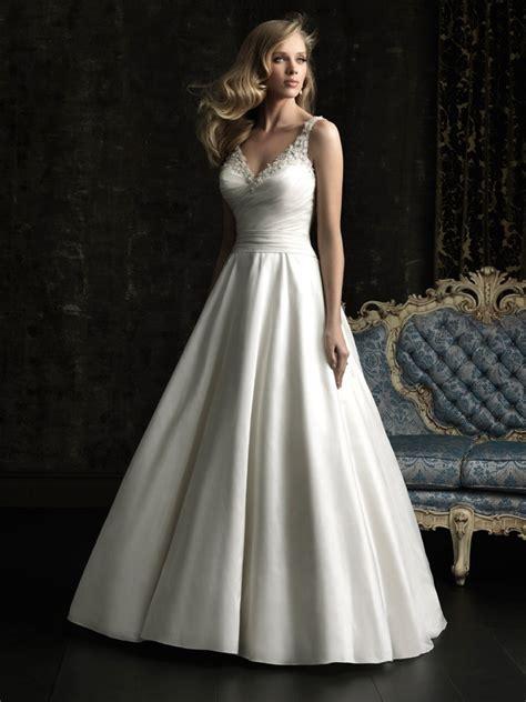 wedding dress beaded straps simple a line v neck taffeta beaded wedding dress with