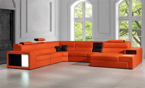 orange leather sectional sofa polaris orange italian leather sectional sofa