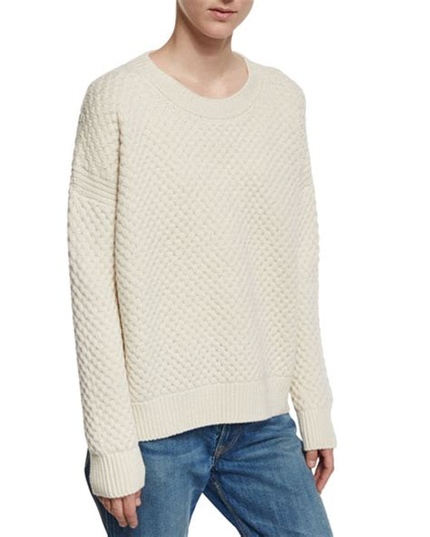 honeycomb knit sweater vince crewneck honeycomb knit sweater winter white