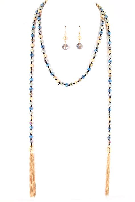 tassel bead necklace glass bead tassel wrap necklace necklaces