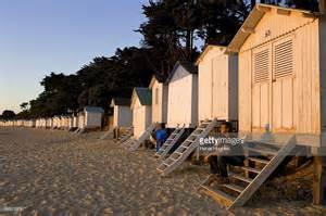 vendee ile de noirmoutier bois de la chaise la plage des and its huts stock