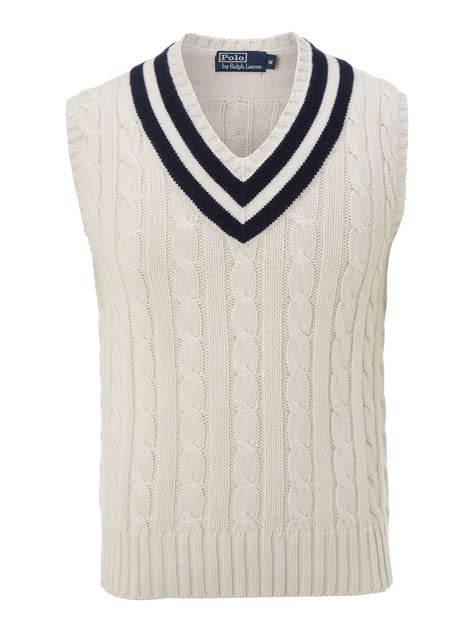knit vests polo ralph wimbledon cable knitted tennis vest in