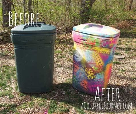 spray paint on trash can spray painting a trash can with chalk paint and stencils
