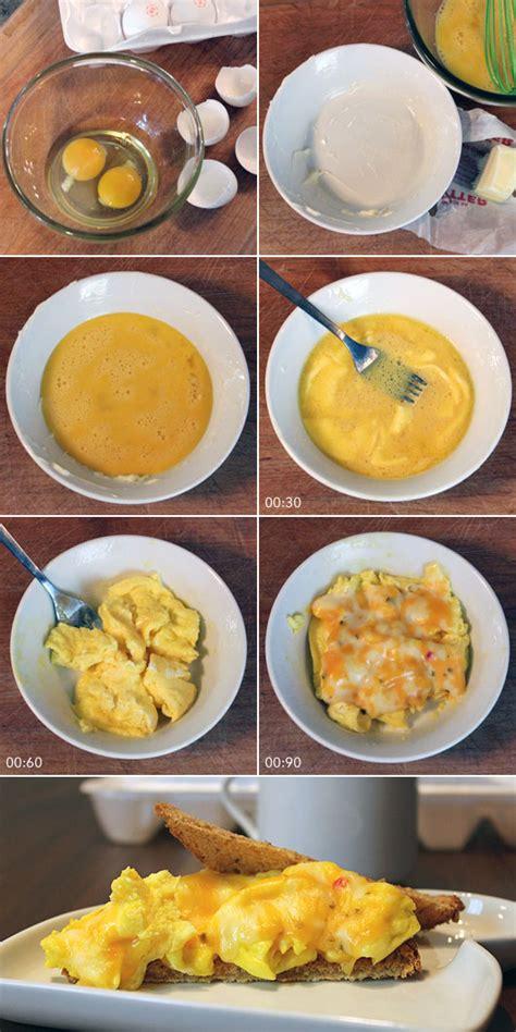 how to make scrabbled eggs microwave scrambled eggs recipe mrbreakfast