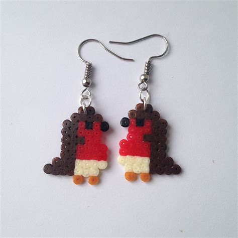 perler bead earrings robin perler bead earrings by kungfuse on etsy