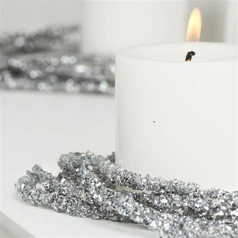 silver bead garland silver sparkling bead and glitter garland