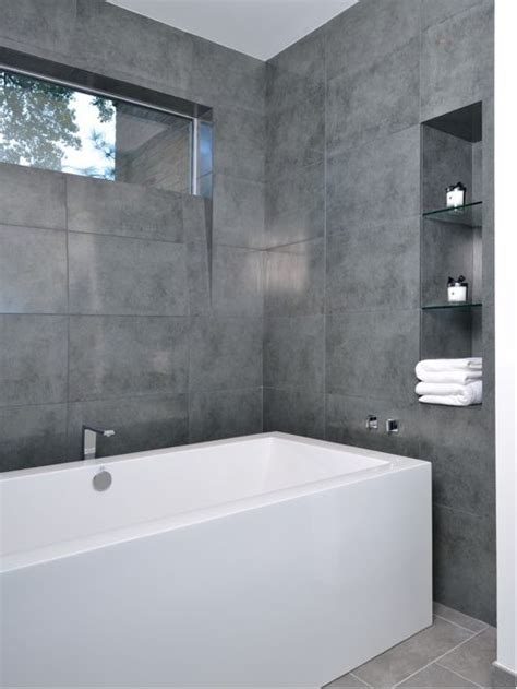modern gray tile bathroom large format grey tile home design ideas pictures
