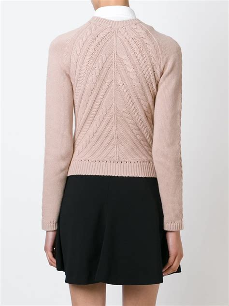 pink knit sweater valentino cable knit sweater in pink lyst
