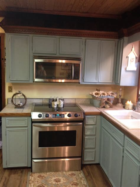 chalk paint kitchen cabinets duck egg updating my oak cabinets to sloan chalk paint