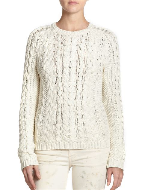 polo knit sweater polo ralph cotton cable knit sweater in lyst